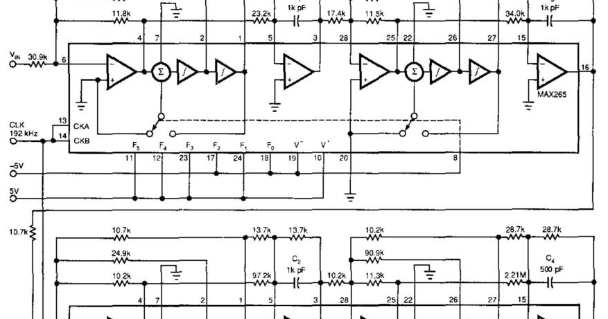 diagram of 2 nd order band stop or band reject filter