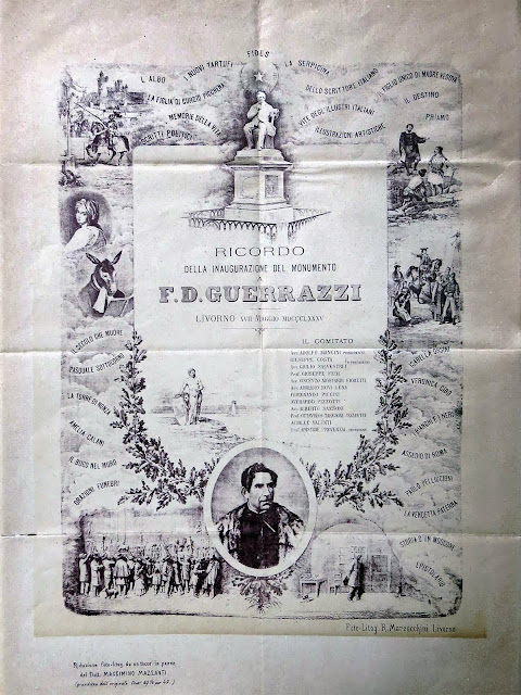 Poster of the inauguration of the monument to Francesco Domenico Guerrazzi, Livorno