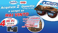 Logo Danette e Coop in Musica e vinci Micro Hi-Fi Sony e viaggio a Londra