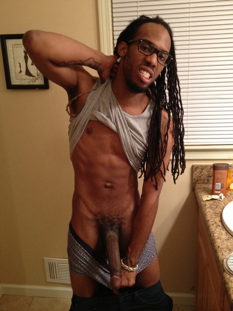 Naked men with dreadlocks