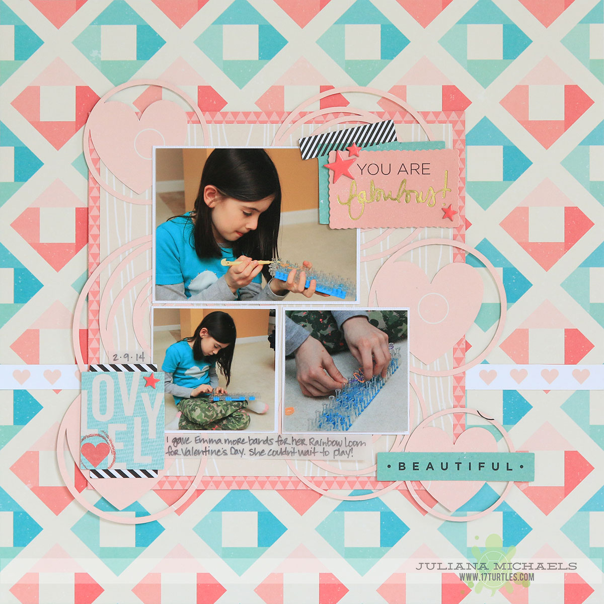 Rainbow Loom Scrapbook Page by Juliana Michaels featuring 17turtles Digital Cut Files
