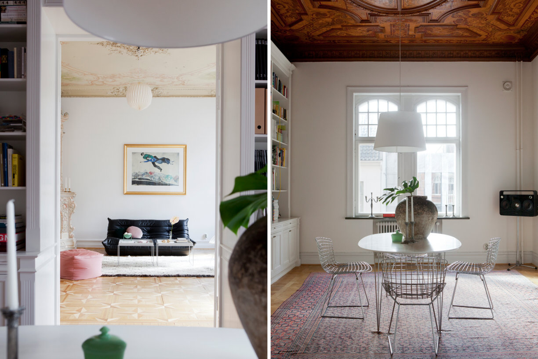 beautiul scandinavian apartment with luxury elements, mid century modern furniture, sofa, monstera, art