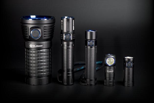 Od lewej: Olight X7 Marauder, Olight M2R Warrior, Olight S2 Baton, Olight H1 Nova, Olight S1 mini Baton