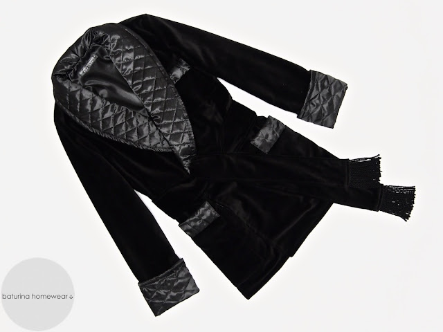 Mens velvet smoking jacket robe black quilted silk dressing gown