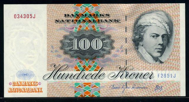 World money 100 Danish kroner krone banknotes images