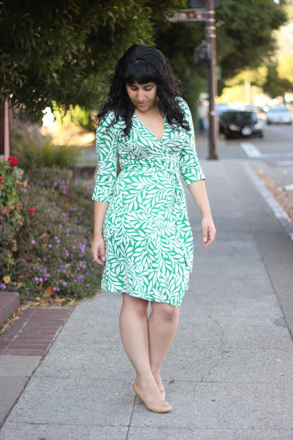 DVF Laurel Green Wrap Dress