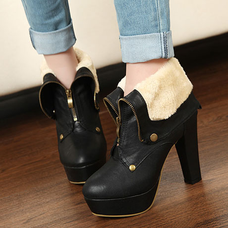 Fashion Middle Calf Black PU Boots2