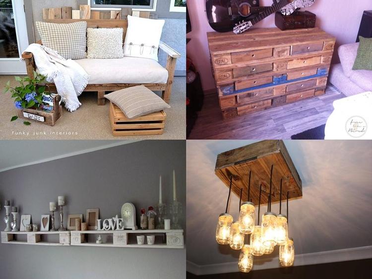 Collage aus recycelten Paletten-DIYs