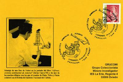 Tarjeta del matasellos homenajea al humorista gráfico Alfonso Iglesias en Langreo