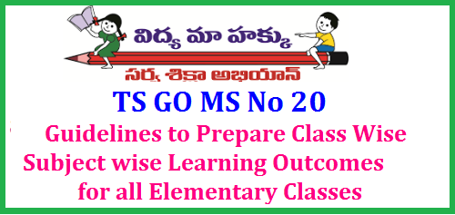 GO MS No 20 Guidelines to Prepare Class Wise Subject wise Learning Outcomes for all Elementary Classes Changes in CCE Method | Instructions to prepare Class wisw Subject wise Learning Outcomes for Classes 1st to 8th Classes | CCE should be used to achieve the decided Learning Outcomes by the Teachers in Telangana School Education – The Telangana Right of Children to Free and Compulsory Education Rules,2010 – Amendment – Notification - Orders – issued.|go-ms-no-20-guidelines-to-prepare-class-subject-learning-outcomes/2017/06/go-ms-no-20-guidelines-to-prepare-class-subject-learning-outcomes.html
