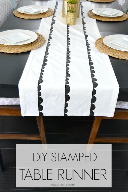 Scalloped stamped table runner