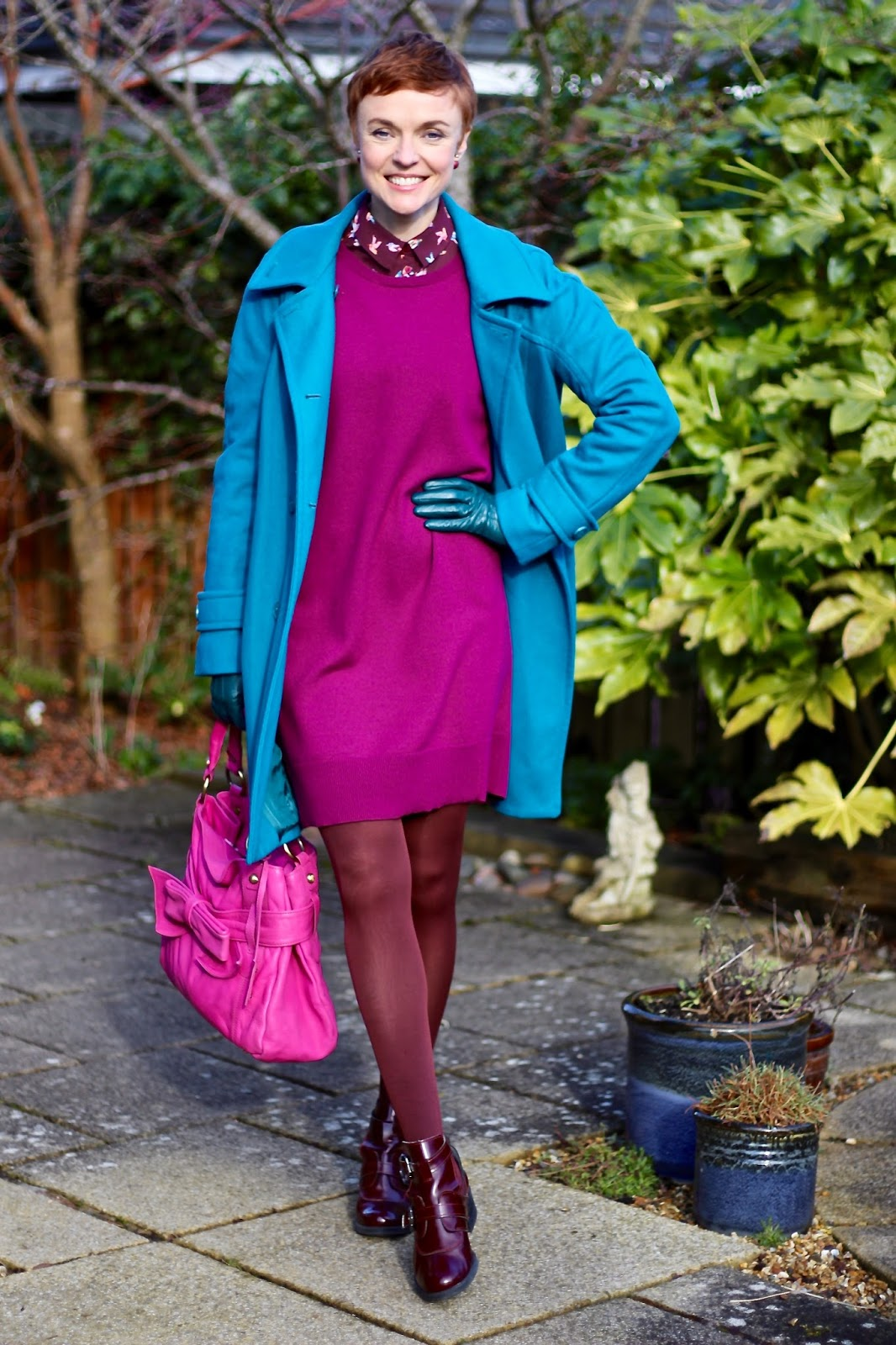 Magenta Wool Dress, Teal Coat, Fuschia Bag | Winter Colour | Fake Fabulous