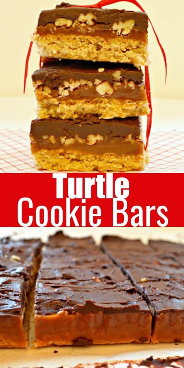 Turtle Cookie Bar recipe with a oatmeal cookie crust, caramel filling with pecans topped with chocolate. A favorite Christmas Cookie for the holidays from Serena Bakes Simply From Scratch.