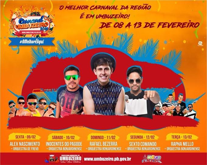 Prefeitura de Umbuzeiro divulga programação do Carnaval 2018