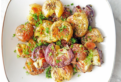 Firm GARLIC SMASHED BABY POTATOES #food#potato