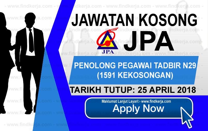 Jawatan Kerja Kosong JPA - Jabatan Perkhidmatan Awam logo www.findkerja.com april 2018
