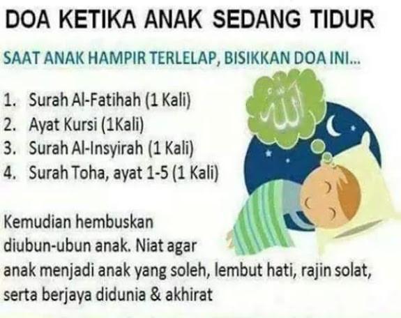 Doa Ketika Anak Sedang Mau Tidur Oleh Bapak Ibu Yang Beriman Dan