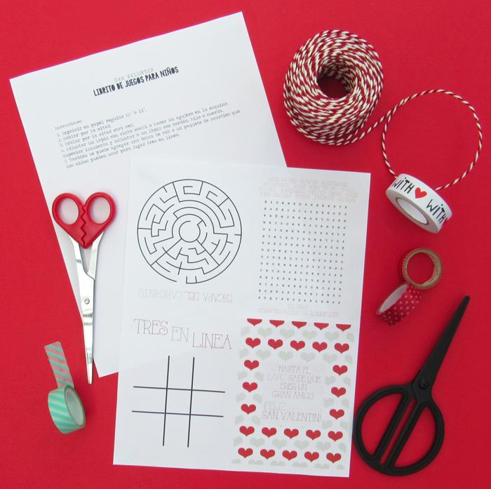 libro o cuaderno imprimible gratis con juegos infantiles, sopa de letras, laberinto, tres en línea, día de los enamorados, amistad