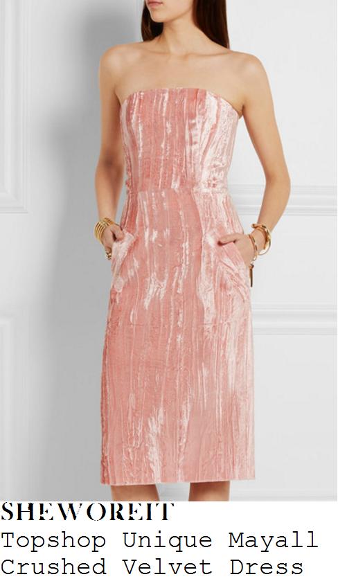 lauren-pope-topshop-unique-mayall-petal-pink-bandeau-strapless-crushed-velvet-dress