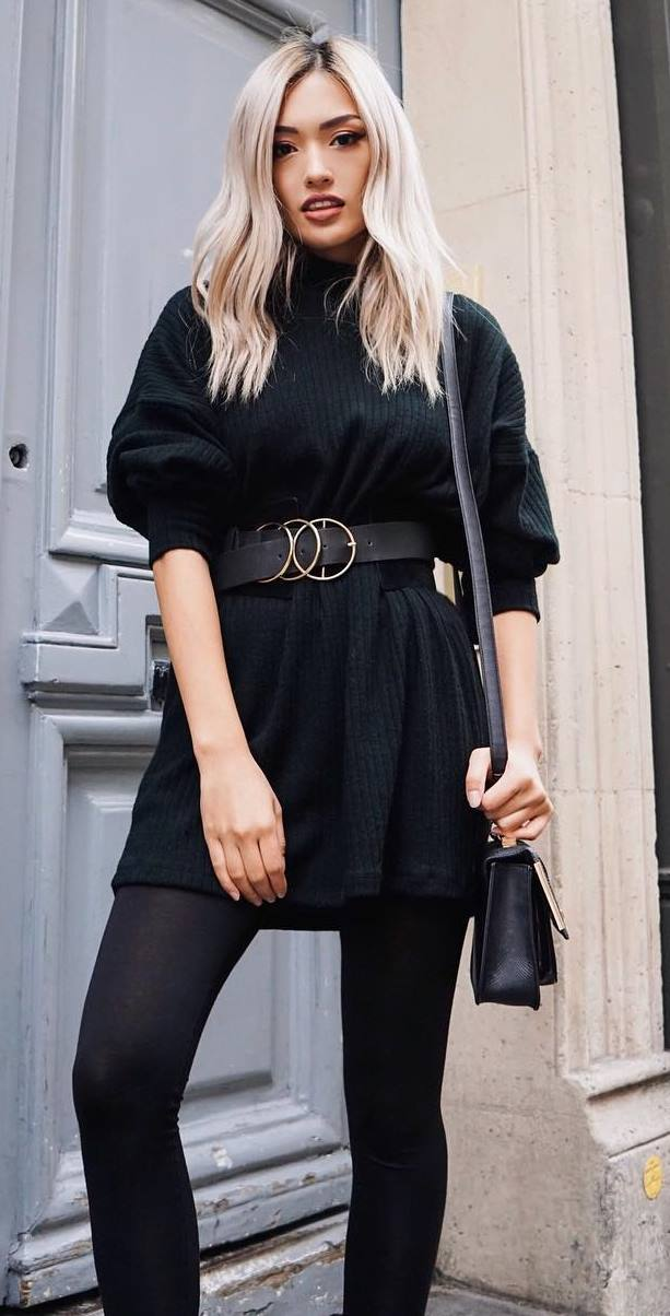 black on black / sweater dress + bag + belt + leggings