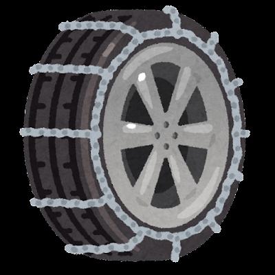 チェーンを巻いたタイヤのイラスト