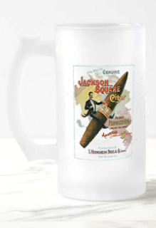Jackson Square Cigar Frosted Glass Beer Mug