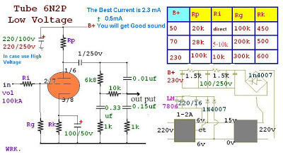 6N2P Tube Pre-Tone Low Volt & Low Cost Circuit