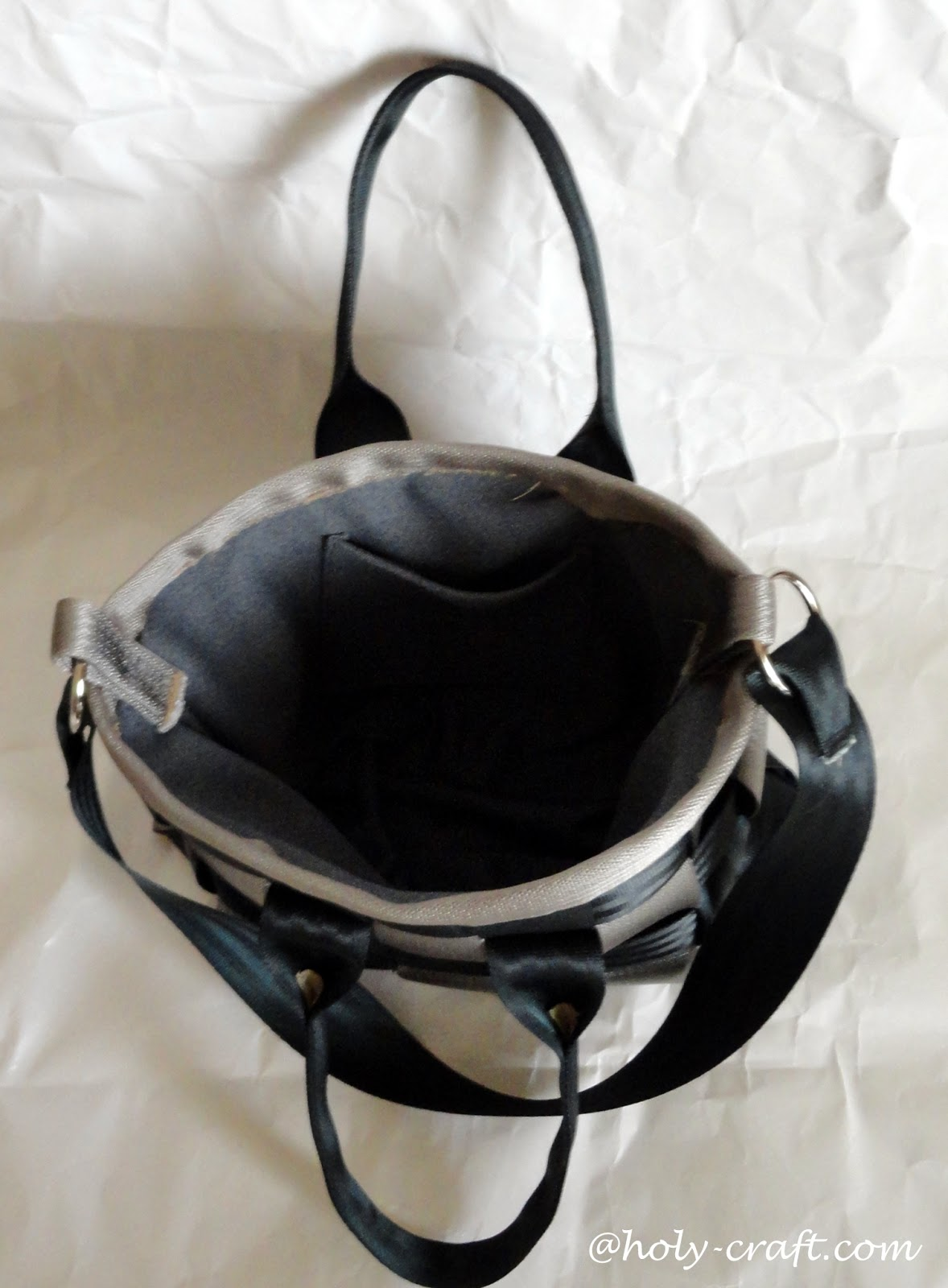 Inside diy seatbelt bag