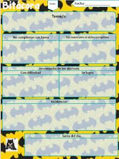 Diseño de Bitácora Escolar editable Batman