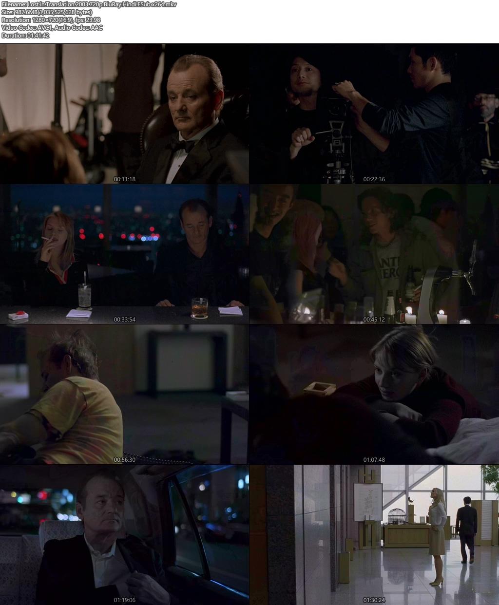 Lost in Translation 2003 720p BluRay Hindi ESub x264 | 480p 300MB | 100MB HEVC Screenshot