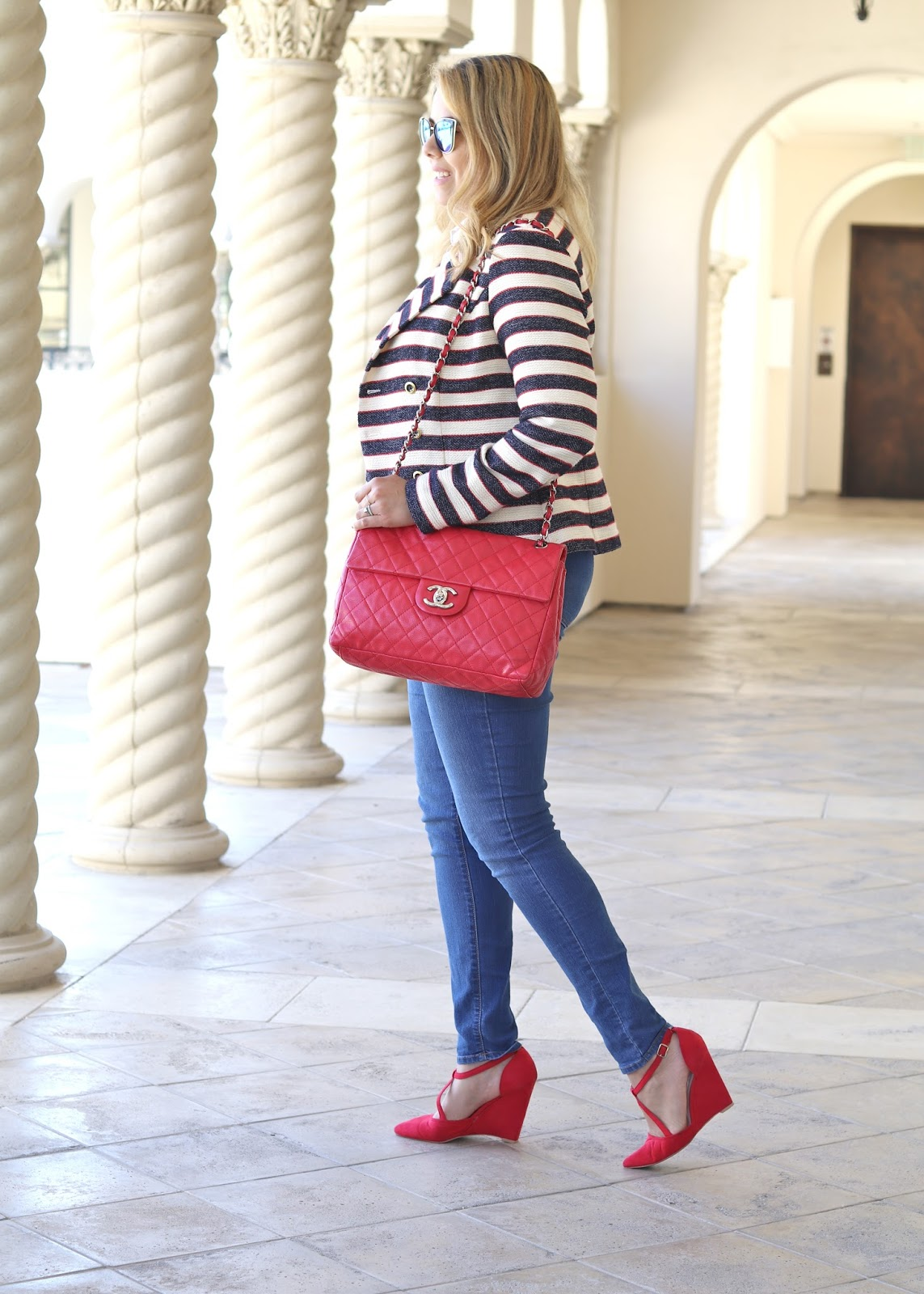 red wedge heels, Cabi blazer, cabi spring 2016 collection, real women wear chanel