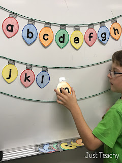 Christmas Lightbulb letters: alphabetical order, sight words, www.JustTeachy.com