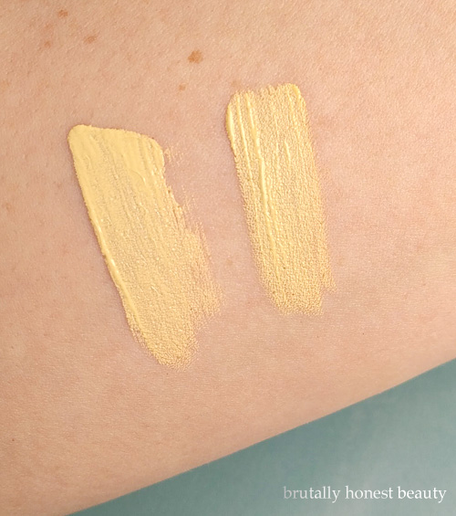 Swatches of Urban Decay Color Correcting Fluid vs. L.A. Girl HD Pro Conceal in Yellow