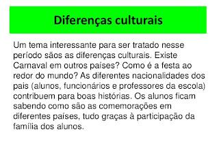Diferenças culturais carnaval