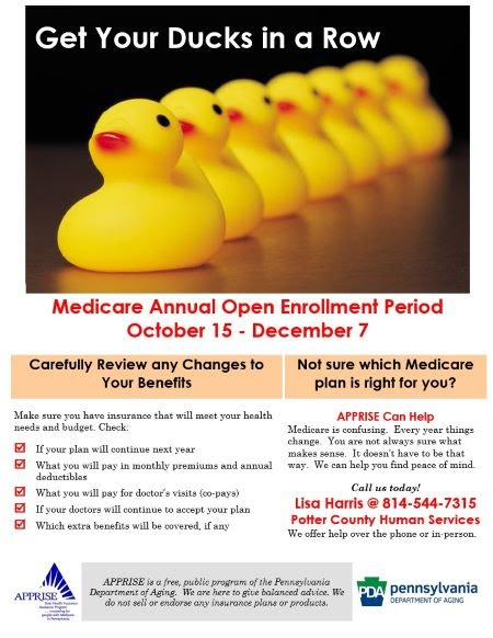 10-15 through 12-7 Medicare Open Enrollment period