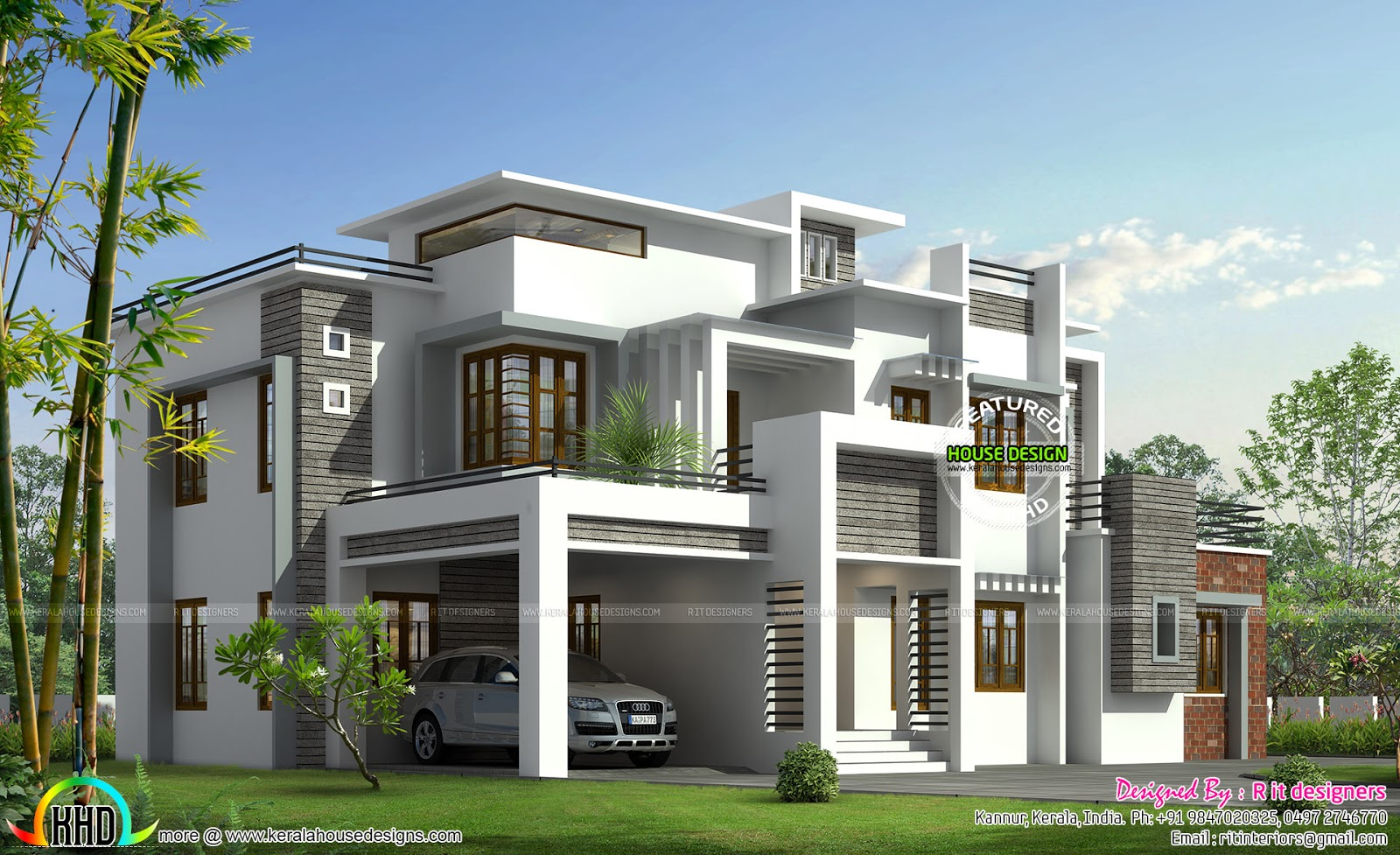 Box model contemporary house kerala home design and for Small indian house plans modern