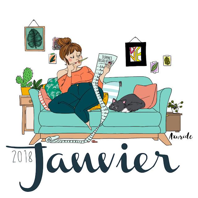 illustration d'une femme qui réfléchit et fait sa liste de bonnes résolutions pour l'année 2018, dans un décort squandinave, avec un chat a cété d'elle.