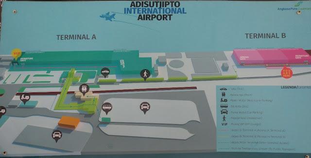 Papan informasi Denah Terminal B Bandara Adi Sutjipto Yogyakarta