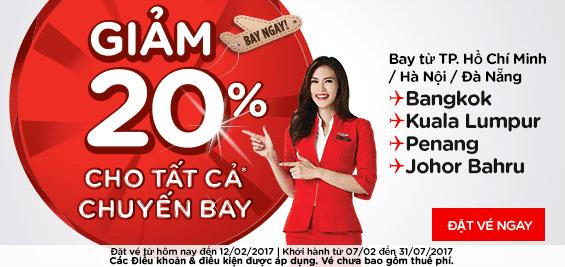 Mua vé máy bay Air Asia giảm 20% giá vé