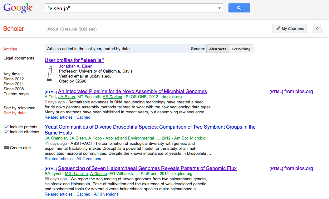The Tree of Life: Google Scholar has search by date option