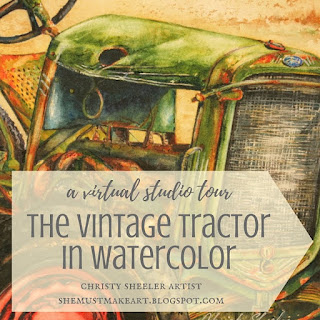 a virtual studio tour the vintage tractor Christy Sheeler artist 2016