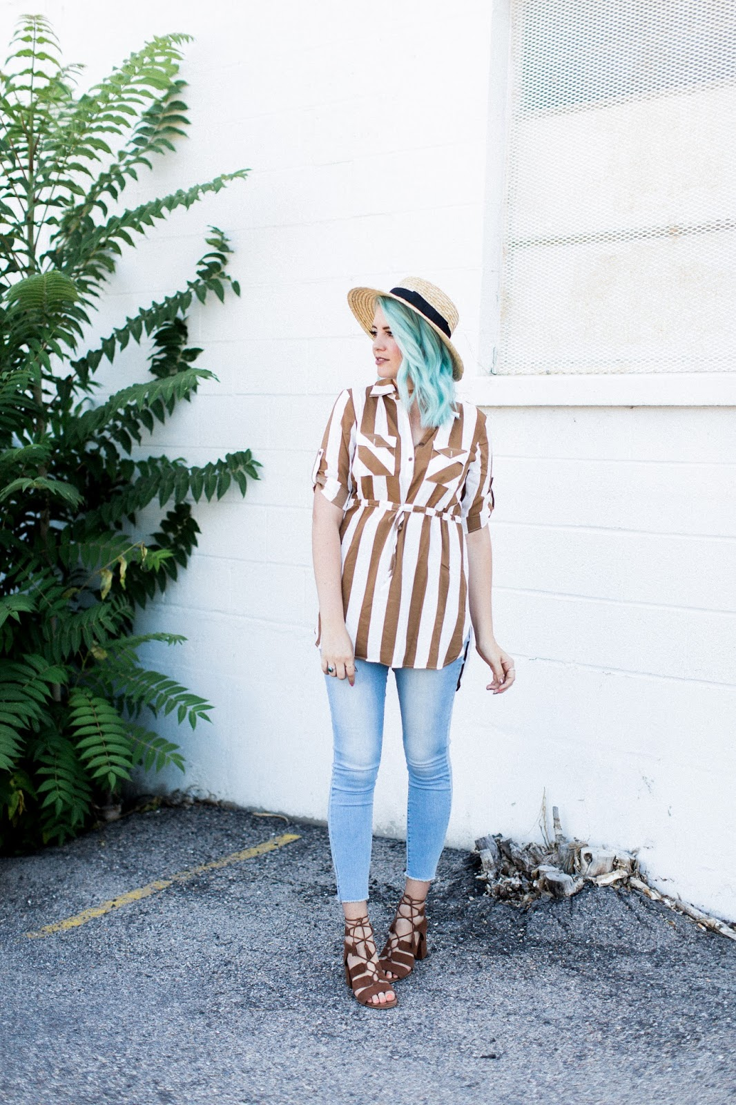 striped tunic, blue hair, fall outfit
