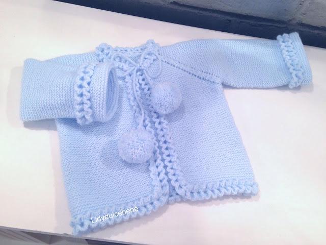 Lidy dulce beb tutorial de la chaqueta azul con el borde a ganchillo - Tejer chaqueta bebe 6 meses ...