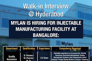 Walk in interview@ Mylan laboratories on 20 January. Don't miss the opportunity