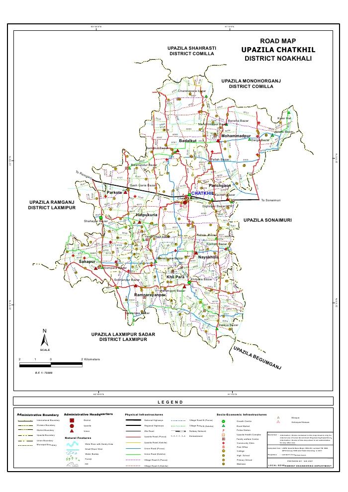 Chatkhil Upazila Road Map Noakhali District Bangladesh