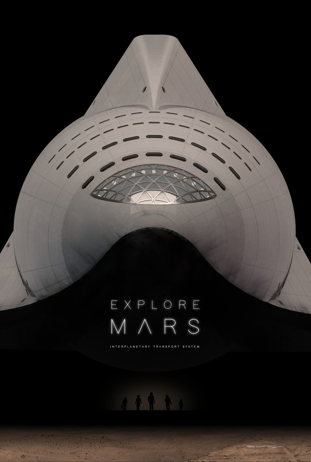 Poster With Front View Of Spacex Its Spaceship By Sam