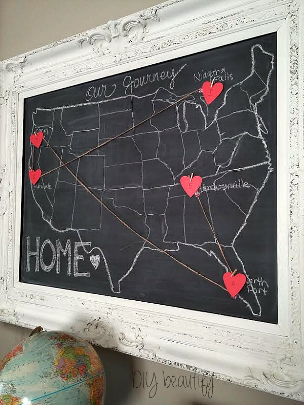 how to create a chalkboard map with DIY beautify