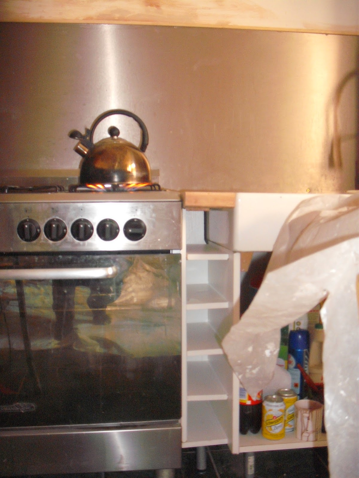 making a wine rack in a gap in the kitchen
