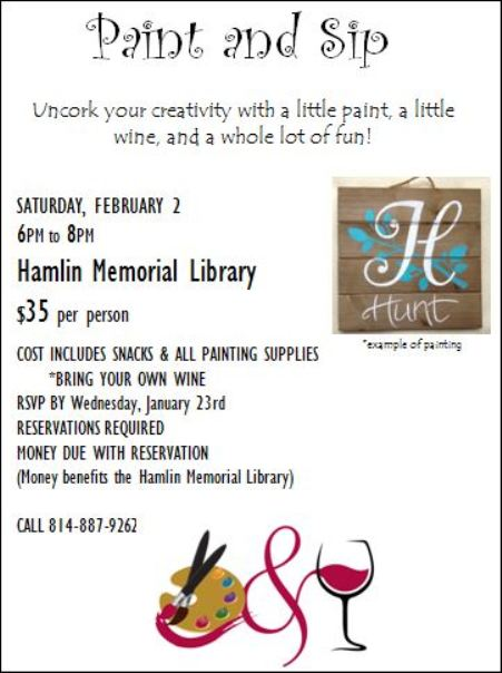 2-2 Paint & Sip held at The Hamlin Memorial Library