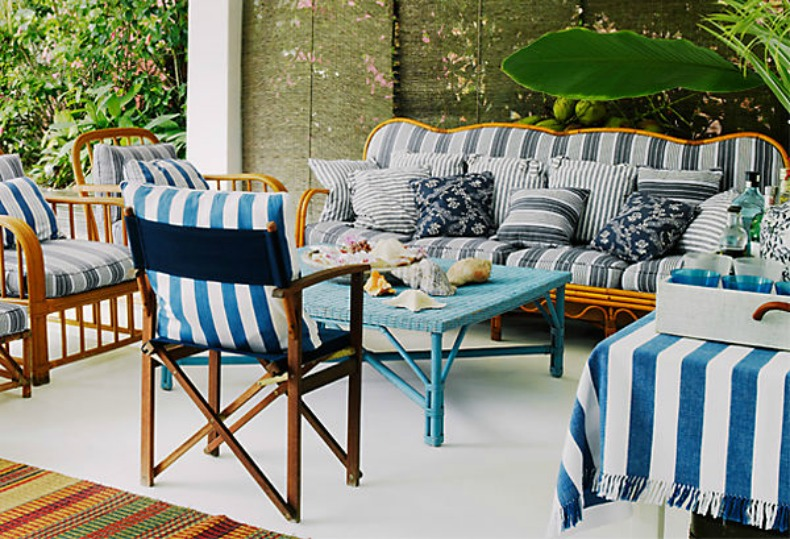 Coastal blue and white striped outdoor living space